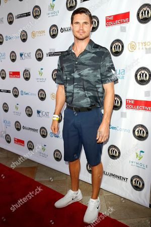 Stock Image of US actor Robbie Amell attends the first Mike Tyson Celebrity Golf Tournament benefitting Standing United at the Monarch Beach Resort in Dana Point, California, USA 02 August 2019. The tournament was sponsored by the Tyson Ranch and aims to help people affected by addiction and homelessness.