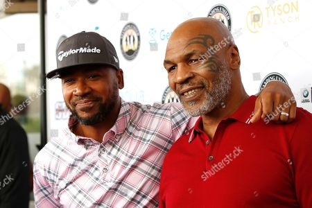 US actor Columbus Short (L) and US boxer and host Mike Tyson (R) attend the first Mike Tyson Charity Golf Tournament benefitting Standing United at the Monarch Beach Resort in Dana Point, California, USA, 02 August 2019. The tournament was sponsored by the Tyson Ranch and aims to raise money and help people affected by addiction and homelessness.