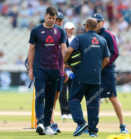 James Anderson of England doesn?t look too happy after having a bowl in the warm up