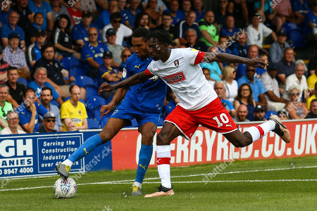 Terrell Thomas of AFC Wimbledon and Freddie Ladapo of Rotherham United during AFC Wimbledon vs Rotherham United, Sky Bet EFL League 1 Football at the Cherry Red Records Stadium on 3rd August 2019