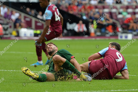 Chicharito of West Ham United goes in a tackle during West Ham United vs Athletic Bilbao, Friendly Match Football at The London Stadium on 3rd August 2019