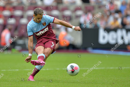 Chicharito of West Ham United misses his penalty during West Ham United vs Athletic Bilbao, Friendly Match Football at The London Stadium on 3rd August 2019