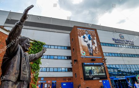 A general View of the Ewood Park Stadium, and the Jack Walker Statue