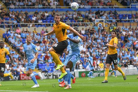 Southend United defender Harry Lennon (26) heads the ball during the EFL Sky Bet League 1 match between Coventry City and Southend United at the St Andrews Trillion Trophy Stadium