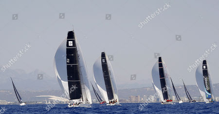 (From left) French ships 'Alizee' and 'Team Vision Future' and the vessel 'Rowdy Too', from British Virgin Is., and French 'Paprec Reciclaje' compete in the category BMW ORC 0 in the last day of 38th Mapfre King's Cup sailing event in Palma bay, Palma de Mallorca, Balearic Islands, eastern Spain, 03 August 2019. Aifos 500 finished in sixth position.