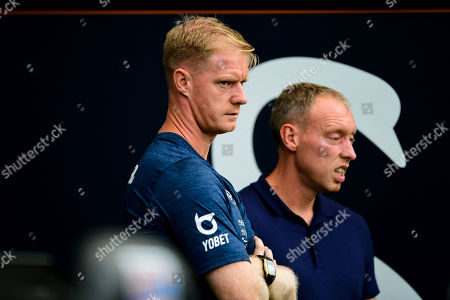 Alan Tate and Swansea City manager Steve Cooper prior to kick off