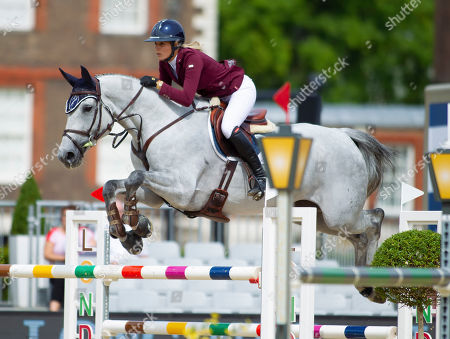 Stock Image of Jessica Mendoza (GBR) riding Diamants Aurora during the CSI2* 1.40/1.45m Jumping Competition