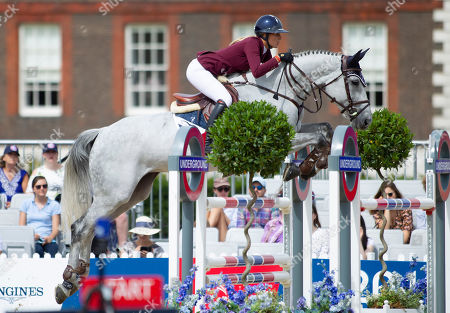 Stock Photo of Jessica Mendoza (GBR) riding Diamants Aurora during the CSI2* 1.40/1.45m Jumping Competition