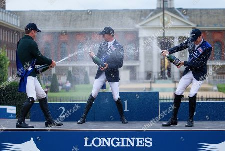 Ben Maher (GBR) riding explosion celebrates winning the Global Champions Tour Grand Prix in London