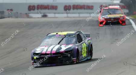 Jimmie Johnson (48) heads into turn one during a practice run for the NASCAR Cup Series auto race at Watkins Glen International, in Watkins Glen, New York