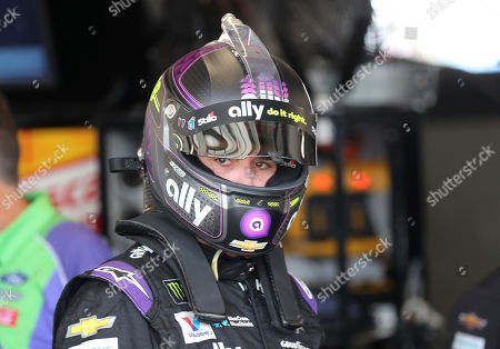 Jimmie Johnson gets ready to head out for the second practice run for the NASCAR Cup Series auto race at Watkins Glen International, in Watkins Glen, New York