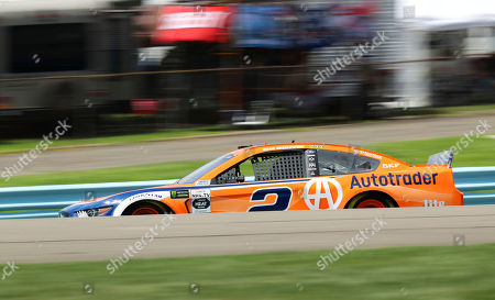 Brad Keselowski (2) takes to the track during a practice run for a NASCAR Cup Series auto race at Watkins Glen International, in Watkins Glen, N.Y