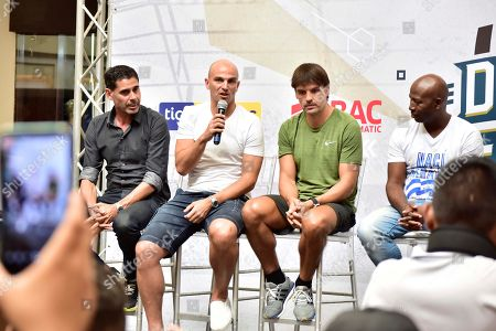 (L-R) former soccer players Spanish Fernando Hierro, Argentinian Esteban Cambiasso and Spanish Fernando Morientes attend a press conference prior the soccer match 'Duelo de leyendas' (Duel of Legends) in San Pedro Sula, Honduras, 03 August 2019. The match is a friendly match between Honduran and internationals former players.