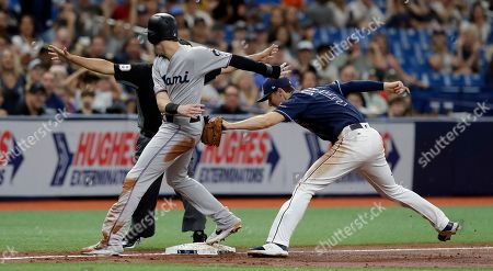Brian Anderson, Matt Duffy. Miami Marlins' Brian Anderson gets tagged out by Tampa Bay Rays third baseman Matt Duffy, right, after attempting to advance on a flyout by Garrett Cooper during the third inning of a baseball game, in St. Petersburg, Fla