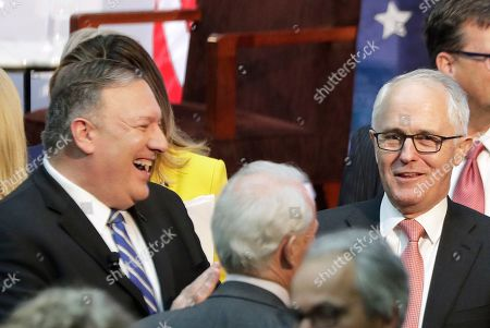 Mike Pompeo, Malcolm Turnbull. U.S. Secretary of State Mike Pompeo, left, laughs with former Australian Prime Minister Malcolm Turnbull, right, after participating in a forum hosted by The Centre For Independent Studies following annual bilateral talks in Sydney, Australia