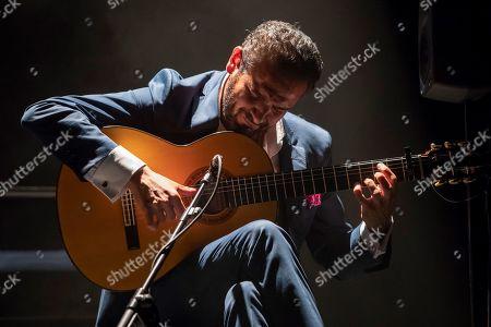 Flamenco guitarist Diego del Morao, guest artist of singer Pasion Vega, performs on stage during the International Festival Cante de las Minas in La Union, Murcia, Spain, 03 August 2019.
