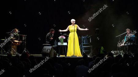 Pasion Vega (C) performs on stage during the International Festival Cante de las Minas in La Union, Murcia, Spain, 03 August 2019.