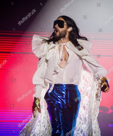 US' alternative rock band 'Thirty Seconds to Mars' singer Jared Leto performs on stage during the Arenal Sound festival in Burriana, Castellon, Spain, 03 August 2019.