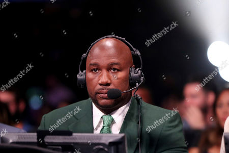 Former heavyweight champion Lennox Lewis is seen broadcasting, Saturday, August 3rd, 2019, in Brooklyn