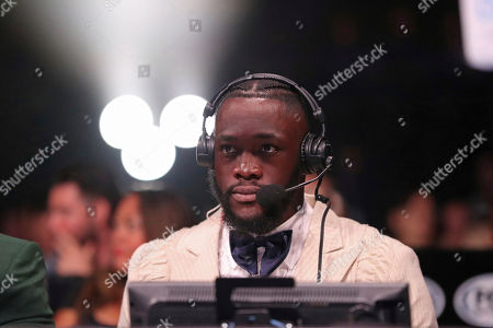 Heavyweight champion Deontay Wilder is seen broadcasting, Saturday, August 3rd, 2019, in Brooklyn