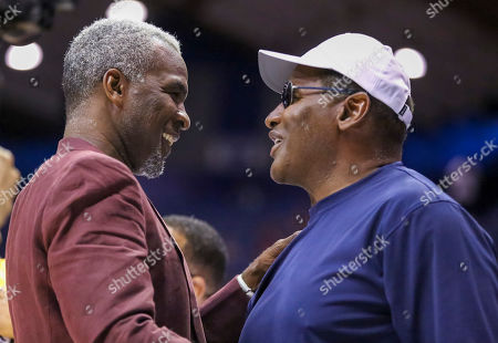 Saturday  - Killer 3's head coach Charles Oakley greets former Bear Richard Dent before the Big3 game between Killer 3's vs Bivouac at the Allstate Arena in Rosemont, IL. Gary E