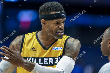 Saturday  - Killer 3's Stephen Jackson argues a call with the ref during the Big3 game between Killer 3's vs Bivouac at the Allstate Arena in Rosemont, IL. Gary E