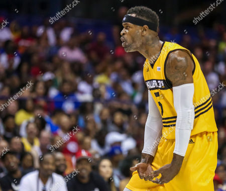 Saturday  - Killer 3's Stephen Jackson gestures after hitting a shot during the Big3 game between Killer 3's vs Bivouac at the Allstate Arena in Rosemont, IL. Gary E
