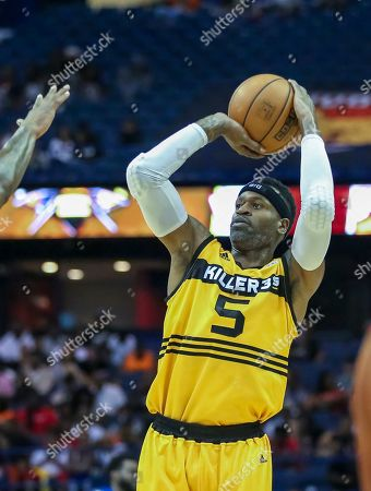 Saturday  - Killer 3's Stephen Jackson shoots a jump shot during the Big3 game between Killer 3's vs Bivouac at the Allstate Arena in Rosemont, IL. Gary E