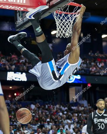 Stock Photo of Saturday  - Power's Corey Maggette dunks during the Big3 game between Power vs the Enemies at the Allstate Arena in Rosemont, IL. Gary E
