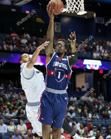 Saturday  - Tri State's Amar'e Stoudemire puts up a contested shot during the Big3 game between Tri-State vs the Ghost Ballers at the Allstate Arena in Rosemont, IL. Gary E