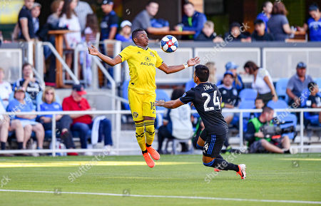 Columbus Crew SC forward Robinho (18) redirects a ball off his chest during the MLS match between Columbus Crew SC and the San Jose Earthquakes at Avaya Stadium in San Jose, California