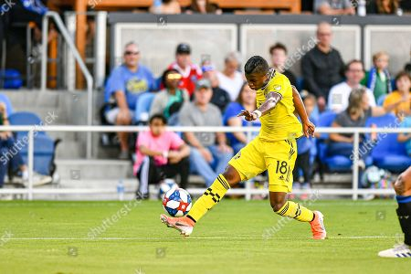 Columbus Crew SC forward Robinho (18) in action during the MLS match between Columbus Crew SC and the San Jose Earthquakes at Avaya Stadium in San Jose, California