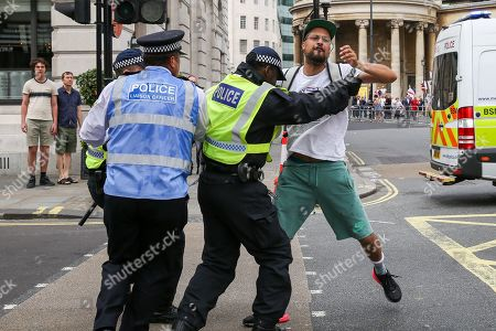 Stock Photo of Police detain a protester during Free Tommy Robinson protest in central London