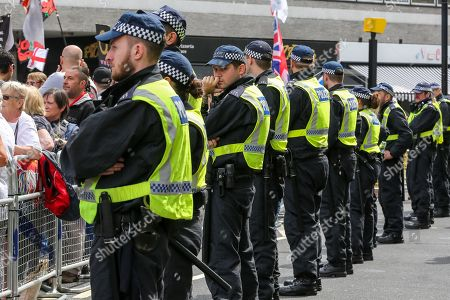 "Large police presence during ""Free Tommy Robinson Protest in central London"