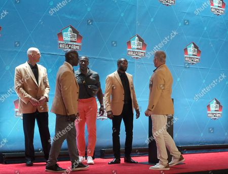 Stock Photo of rd, Champ Bailey, Terrell Davis, Shannon Sharpe, & John Elway during the Pro Football Hall of Fame Enshrinement in Canton, OH