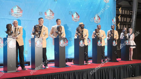 rd, Gil Brandt, Johnny Robinson, Kevin Mawae, Pat Bowlen, Ty Law, Ed Reed, Champ Bailey, Tony Gonzalez during the Pro Football Hall of Fame Enshrinement in Canton, OH