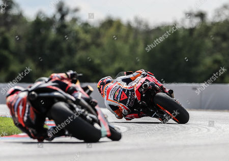 Stefan Bradl (R) of Repsol Honda Team in action during the MotoGP race of the Motorcycling Grand Prix of the Czech Republic at Masaryk circuit in Brno, Czech Republic, 04 August 2019.
