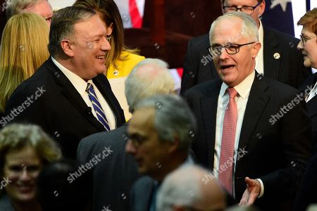 US Secretary of State Mike Pompeo (L) and former Australian prime minister Malcolm Turnbull (R) during a remarks session of the Australia-United States Ministerial Consultations (AUSMIN) at The State Library of NSW in Sydney, New South Wales, Australia, 04 August 2019.
