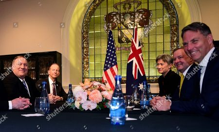 US Secretary of State Mike Pompeo (L), Australian Shadow Minister for Foreign Affairs Penny Wong (3-R) and Leader of the Opposition Anthony Albanese (2-R) during an Australia-United States Ministerial Consultations (AUSMIN) meeting at The State Library of NSW in Sydney, New South Wales, Australia, 04 August 2019.