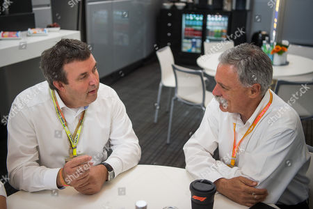 Hungarian Minister of Innovation and Technology Laszlo Palkovics (L) and Chase Carey, chief executive officer and executive chairman of the Formula One Group during their meeting prior to the start of the Hungarian Formula One Grand Prix at the Hungaroring circuit, in Mogyorod, Hungary, 04 August 2019.