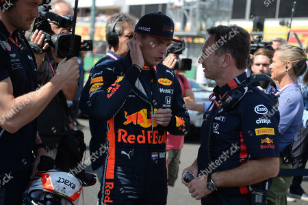 Dutch Formula One driver Max Verstappen (L) and Team Principal of the Red Bull Racing Formula One team Christian Horner have a chat ahead the start of the Hungarian Formula One Grand Prix at the Hungaroring circuit, in Mogyorod, Hungary, 04 August 2019.