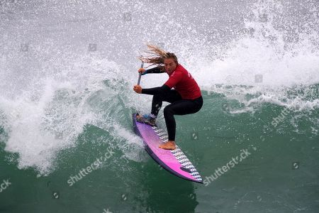 Colombian Isabella Gomez in action for the bronze medal at the Surf Sup Female competition of the Lima 2019 Pan American Games, in Lima, Peru, 04 August 2019.