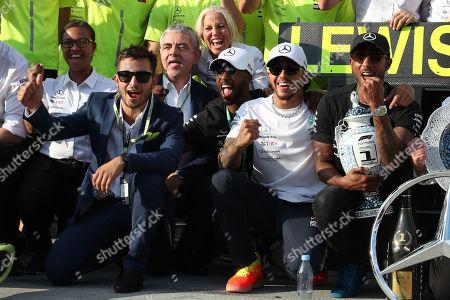 Stock Picture of Motorsports: FIA Formula One World Championship 2019, Grand Prix of Hungary,   Rowan Atkinson (GBR), #44 Lewis Hamilton (GBR, Mercedes AMG Petronas Motorsport),