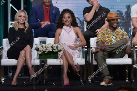 """Stock Image of Monet Mazur, Samantha Logan, Taye Diggs. Monet Mazur, from left, Samantha Logan and Taye Diggs participate in The CW """"All American"""" panel during the Summer 2019 Television Critics Association Press Tour at the Beverly Hilton Hotel, in Beverly Hills, Calif"""