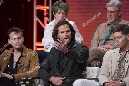 "Alexander Calvert, Jared Padalecki, Jensen Ackles. Alexander Calvert, from left, Jared Padalecki, Jensen Ackles participate in The CW ""Supernatural: Final Season"" panel during the Summer 2019 Television Critics Association Press Tour at the Beverly Hilton Hotel, in Beverly Hills, Calif"