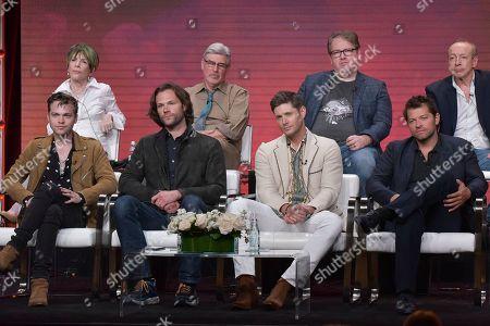 "Alexander Calvert, Jared Padalecki, Jensen Ackles, Misha Collins. Alexander Calvert, from left, Jared Padalecki, Jensen Ackles and Misha Collins participate in The CW ""Supernatural: Final Season"" panel during the Summer 2019 Television Critics Association Press Tour at the Beverly Hilton Hotel, in Beverly Hills, Calif"