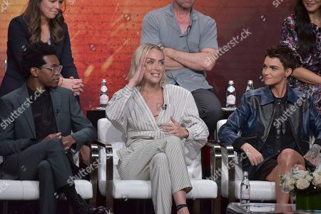 "Camrus Johnson,Rachel Skarsten, Ruby Rose. Camrus Johnson, from left, Rachel Skarsten and Ruby Rose participate in The CW ""Batwoman"" panel during the Summer 2019 Television Critics Association Press Tour at the Beverly Hilton Hotel, in Beverly Hills, Calif"
