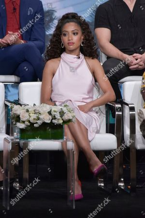 """Samantha Logan participates in The CW """"All American"""" panel during the Summer 2019 Television Critics Association Press Tour at the Beverly Hilton Hotel, in Beverly Hills, Calif"""