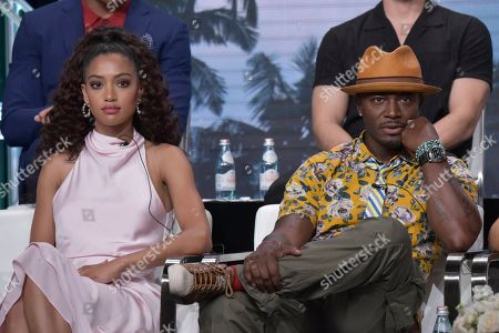 """Samantha Logan, Taye Diggs. Samantha Logan, left, and Taye Diggs participate in The CW """"All American"""" panel during the Summer 2019 Television Critics Association Press Tour at the Beverly Hilton Hotel, in Beverly Hills, Calif"""