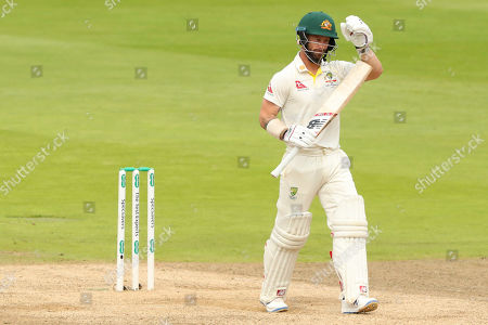 BIRMINGHAM, ENGLAND. 04 AUGUST Matthew Wade of Australia signals for a TV Umpire review after being given out LBW off the bowling of Stuart Broad of England during day 3 of the 1st Specsavers Ashes Test Match, at Edgbaston Cricket Ground, Birmingham, England
